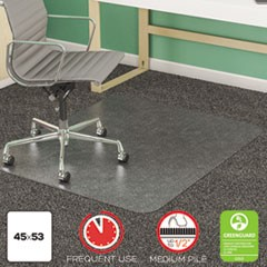 SuperMat Frequent Use Chair Mat, Med Pile Carpet, 45 x 53, Beveled Rectangle, CR