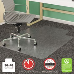 SuperMat Frequent Use Chair Mat, Med Pile Carpet, Flat, 36 x 48, Lipped, CR