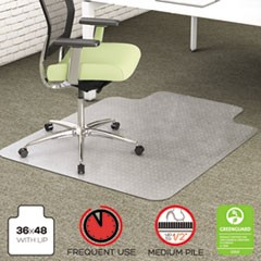 EnvironMat Recycled Anytime Use Chair Mat, Med Pile Carpet, 36x48 w/Lip, Clear