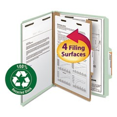 "Classification Folder, One Divider, 2"" Exp., 2/5 Cut, Letter, Gray/Green, 10/Box"
