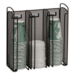 Onyx Breakroom Organizers, 3Compartments, 12.75x4.5x13.25, Steel Mesh, Black
