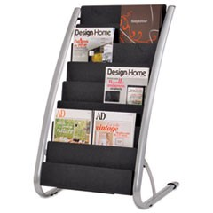 Literature Floor Rack, 16 Pocket, 23 x 19 2/3 x 36 2/3, Silver Gray/Black