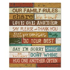 "Motivational Poster, 16 x 20, ""Our Family Rules"", Dark Walnut"
