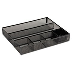 Deep Desk Drawer Organizer, Metal Mesh, Black