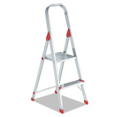 #566 Two-Step Folding Aluminum Euro Platform Ladder, Aluminum/Red