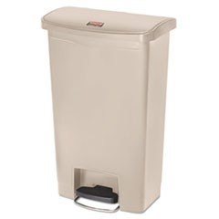 Slim Jim Resin Step-On Container, Front Step Style, 13 gal, Beige