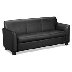 VL870 Series Leather Reception Three-Cushion Sofa, 73w x 28 3/4d x 32h, Black