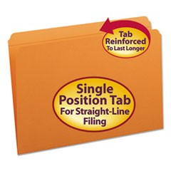 File Folders, Straight Cut, Reinforced Top Tab, Legal, Orange, 100/Box