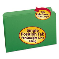 File Folders, Straight Cut, Reinforced Top Tab, Legal, Green, 100/Box