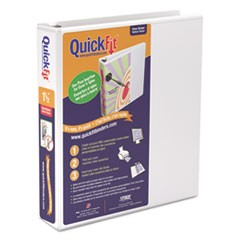 "QuickFit D-Ring View Binder, 1 1/2"" Capacity, 8 1/2 x 11, White"