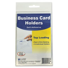 Self-Adhesive Business Card Holders, Top Load, 3 1/2 x 2, Clear, 10/Pack