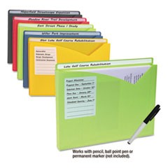 "Write-On Expanding Poly File Folders, 1"" Exp., Letter, Assorted Colors, 10/BX"