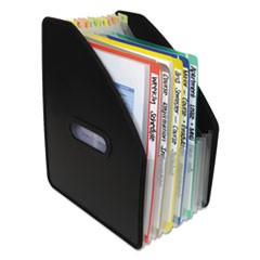 "Vertical Expanding File, 13-Pocket, 10"" Expansion, Letter, Poly, Black"