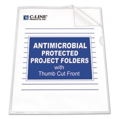 Antimicrobial Project Folders, Jacket, Letter, Polypropylene, Clear, 25/Box