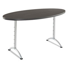 ARC Sit-to-Stand Tables, Oval Top, 36w x 72d x 30-42h, Gray Walnut/Silver