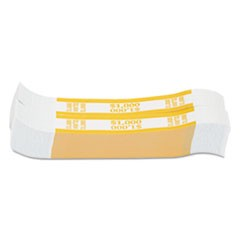 Currency Straps, Yellow, $1,000 in $10 Bills, 1000 Bands/Pack