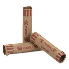 Preformed Tubular Coin Wrappers, Pennies, $.50, 1000 Wrappers/Box