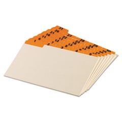 Laminated Tab Index Card Guides, Daily, 1/5 Tab, Manila, 5 x 8, 31/Set