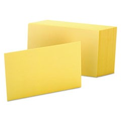 Unruled Index Cards, 4 x 6, Canary, 100/Pack