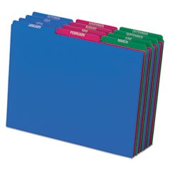 Top Tab File Guides, Monthly/Jan-Dec, 1/3 Tab, Polypropylene, Letter, 12/Set