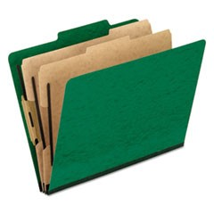 Six-Section Colored Classification Folders, Letter, 2/5 Tab, Green, 10/Box