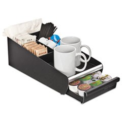 Vesta Condiment Organizer W/Drawer, 7 1/8 x 14 7/8 x 4 7/8, Blk/Chrome