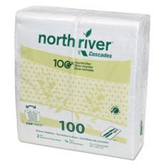 North River Dinner Napkins, 2-Ply, 3 3/4 x 8 1/2, White, 100/Pack, 3000/Carton