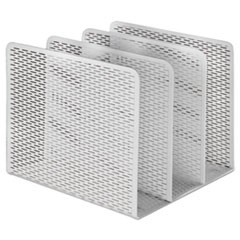 Urban Collection Punched Metal File Sorter, Three Sections, 8 x 8 x 7 1/4, White