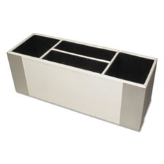 Architect Line Supply Caddy, 4-Compartment, 3 x 8 3/4 x 3, White/Silver