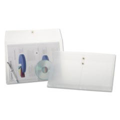 Expandable Poly String & Button Booklet Envelope, Clear, 8 1/2 x 14, 3/Pack