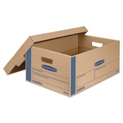 SmoothMove Prime Large Moving Boxes, Lift Lid, 24l x 15w x 10h, Kraft/Blue, 8/CT