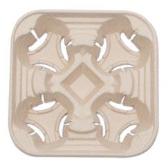 Heavyweight 4-Cup Carry Tray, 6 x 2 x 6, Natural, 300/Carton