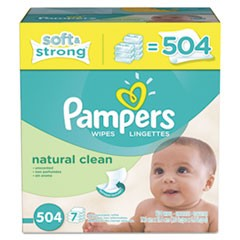 Natural Clean Baby Wipes, Unscented, White, Cotton, 504/Carton