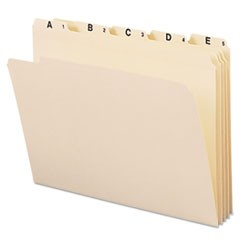 Indexed File Folders, 1/5 Cut, Indexed A-Z, Top Tab, Letter, Manila, 25/Set
