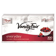 Vanity Fair Everyday Dinner Napkins, 2-Ply, White, 300/Pack