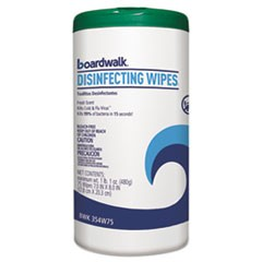 Disinfecting Wipes, 8 x 7, Fresh Scent, 75/Canister, 6 Canisters/Carton