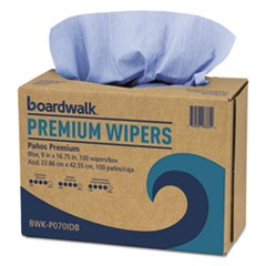 Hydrospun Wipers, Blue, 9 x 16 3/4, 10 Pack Dispensers of 100, 000/Carton