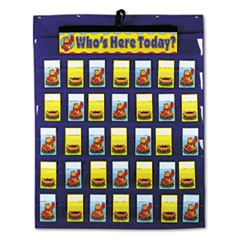 Attendance/Multiuse Pocket Chart, 35 Pockets/Two-Sided Cards, Blue, 30 x 37 1/2