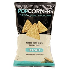 Popcorners Popped-Corn Chips, Sea Salt, 5oz Bag, 12/Carton