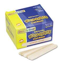 Natural Wood Craft Sticks, Jumbo Size, 6 x 3/4, Wood, Natural, 500/Box