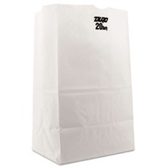 #20 Squat Paper Grocery Bag, 40lb White, Std 8 1/4 x 5 15/16 x 13 3/8, 500 bags