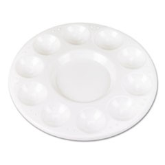 Round Plastic Paint Trays for Classroom, White, 10/Pack