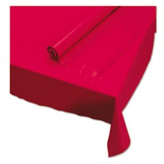 "Plastic Roll Tablecover, 40"" x 100 ft, Red"