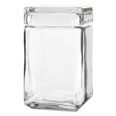 Stackable Square Glass Jar w/Glass Lid, 1.5 qt, Clear, 4/Carton