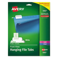 Print/Write-On Hanging Tabs, 1/5 Tab, 2 1/16, White, 90/Pack