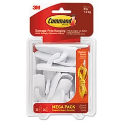 General Purpose Hooks, Medium, 3lb Cap, White, 20 Hooks & 24 Strips/Pack