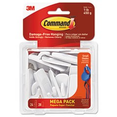 General Purpose Hooks, Small, 1lb Cap, White, 24 Hooks & 28 Strips/Pack