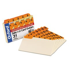 Laminated Index Card Guides, Daily, 1/5 Tab, Manila, 3 x 5, 31/Set