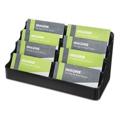 8-Pocket Recycled Business Card Holder, 400 Card Cap, 7.88 x 3.38 x 3.5, Clear