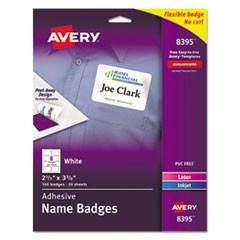 Flexible Adhesive Name Badge Labels, 2 1/3 x 3 3/8, WE, 160/PK